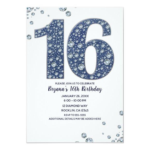 Denim & Diamonds Bling Sparkle Sweet 16 Birthday Invitations