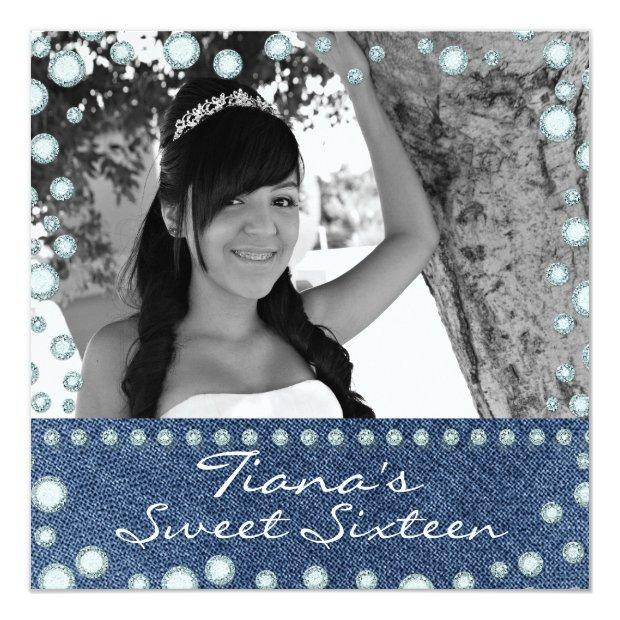 Denim Diamonds Picture Photo Sweet 16 Invitation