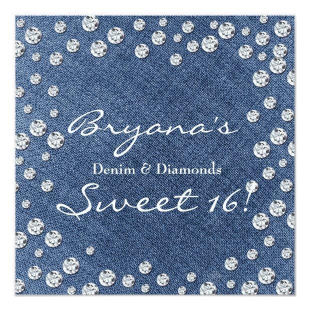 Denim Diamonds Scattered Bling Sweet 16 Invitation