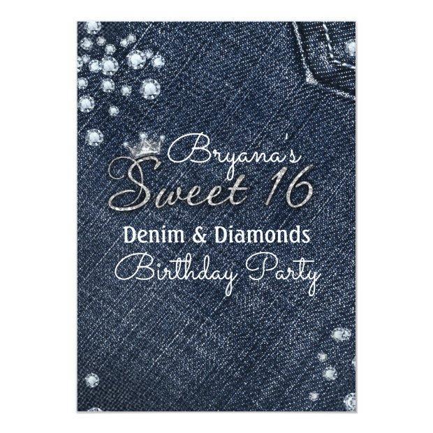 Denim & Diamonds Sweet 16 Crown Party Invitations