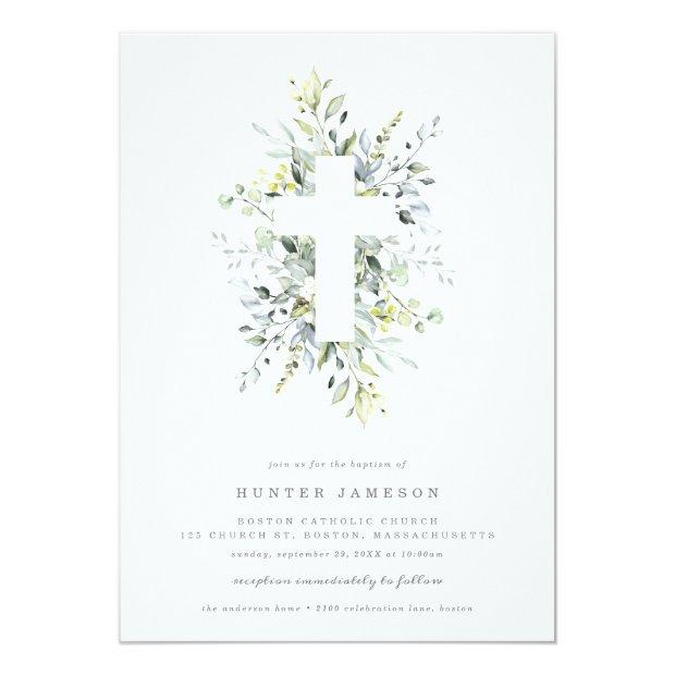 Dusty Blue Florals Baptism Invitation