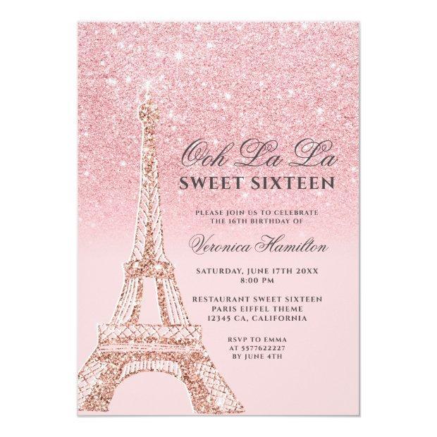 Eiffel Tower Pink Glitter Sparkles Chic Sweet 16 Invitation