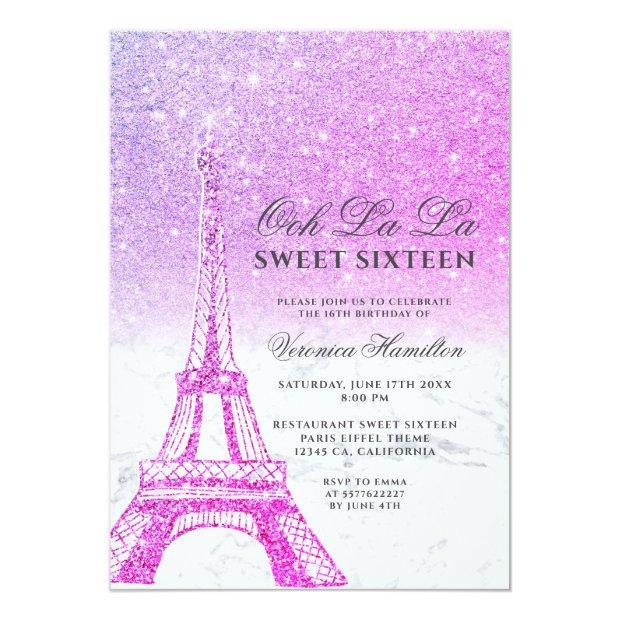 Eiffel Tower Pink Purple Glitter Marble Sweet 16 Invitation