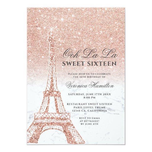 Eiffel Tower Rose Gold Glitter Marble Sweet 16 Invitation