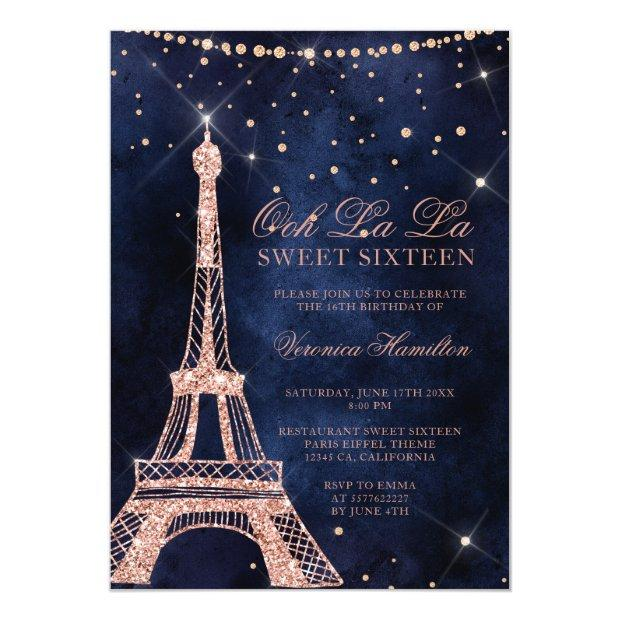 Eiffel Tower Rose Gold Glitter Sparkle Sweet 16 Invitation