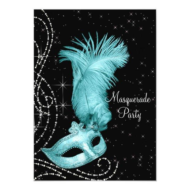 Elegant Black And Teal Blue Masquerade Party Invitations