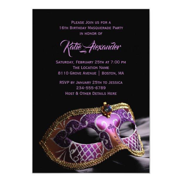 Elegant Black Purple Sweet 16 Masquerade Party Invitations