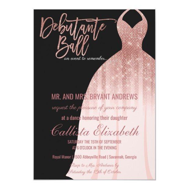 Elegant Black Rose Gold Glitter Dress Debutante Invitation