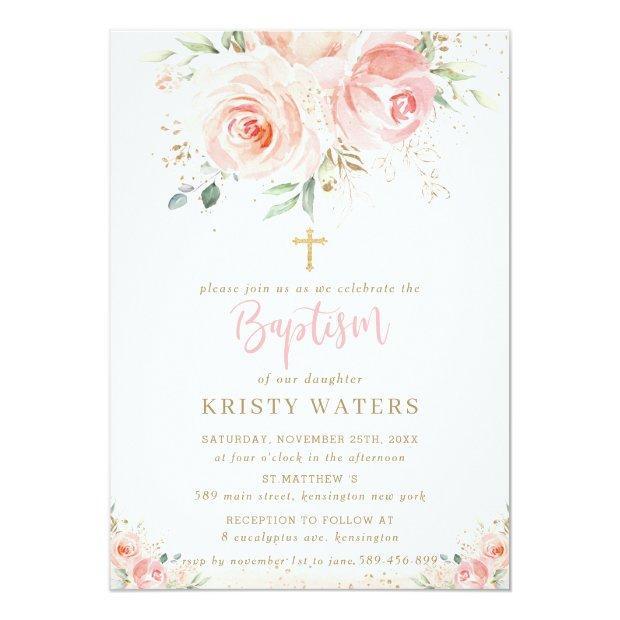 Elegant Blush Pink Floral Gold Baptism Invitation