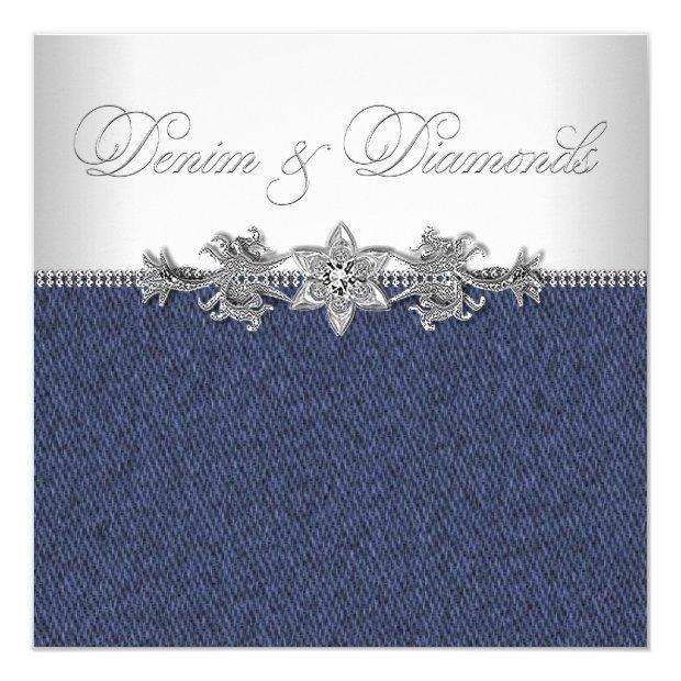 Elegant Denim And Diamonds Party Invitations