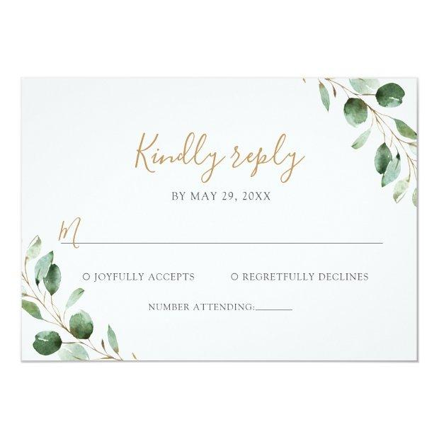 Elegant Eucalyptus Greenery Wedding Rsvp Invitations