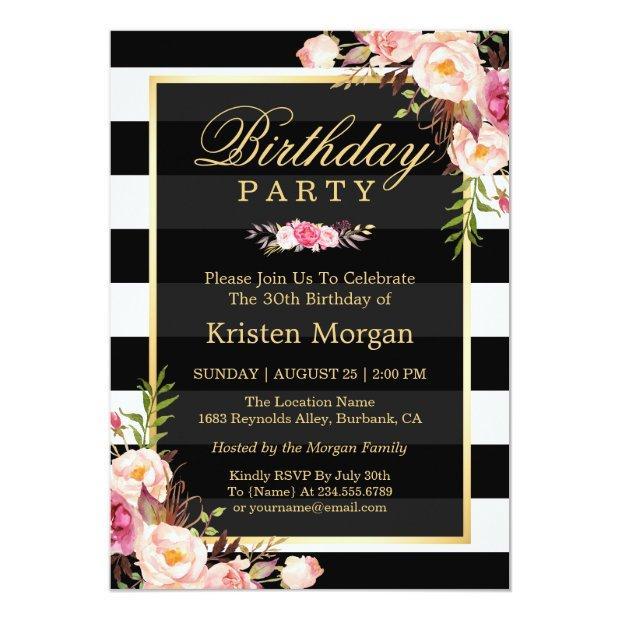 Elegant Floral Black White Stripes Birthday Party Invitations