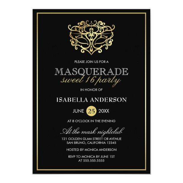 Elegant Gold & Black Masquerade Sweet 16 Party Invitations