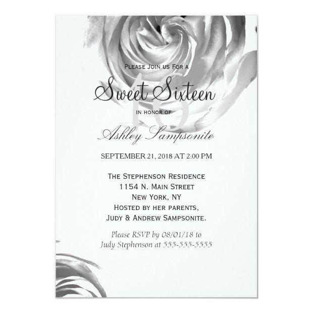 Elegant Pretty Black And White Rose Print Invitations