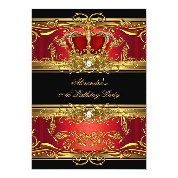 Elegant Regal Red Black Gold Queen Birthday Party Invitations