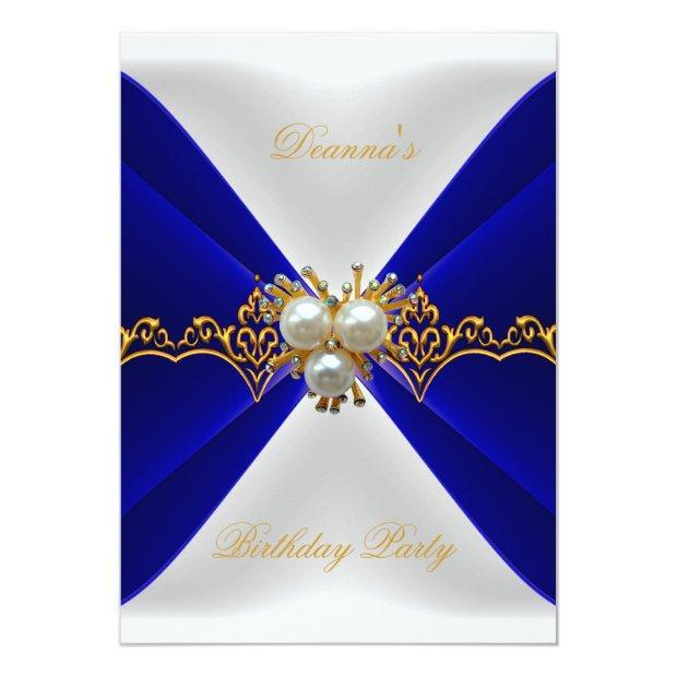 Elegant Royal Blue Birthday Gold Jewel White Silk Invitations