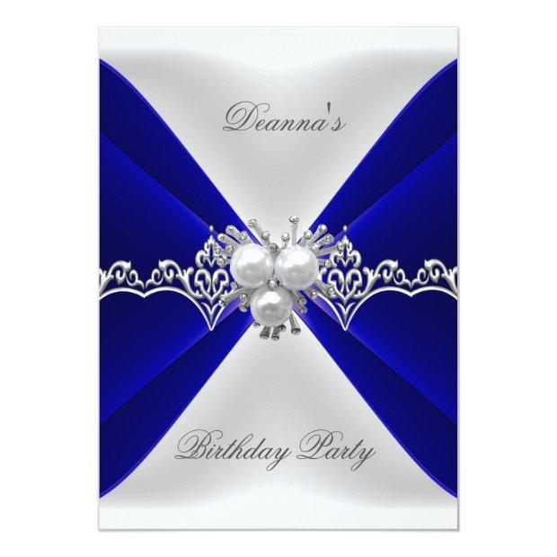 Elegant Royal Blue Birthday Jewel White Silk Invitation