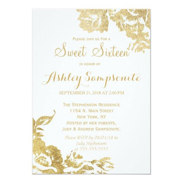 Elegant Simple Modern Rose Floral Gold Faux Print Invitations