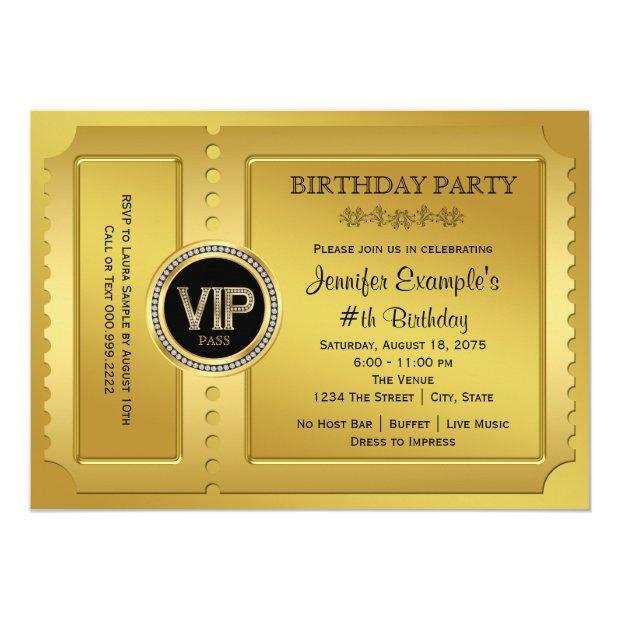 Elegant Vip Golden Ticket Birthday Party Invitations