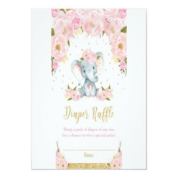 Elephant Floral Baby Shower Diaper Raffle Invitations