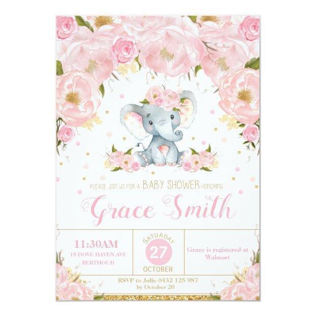 Elephant Floral Baby Shower Invitation Girl