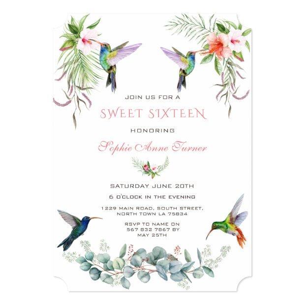 Exotic Pink Hibiscus Humming Birds Sweet Sixteen Invitation