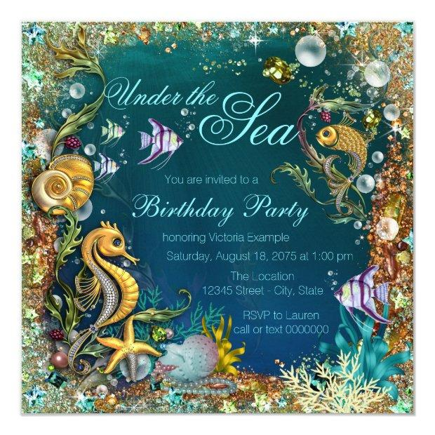 Fancy Under The Sea Birthday Party Invitations