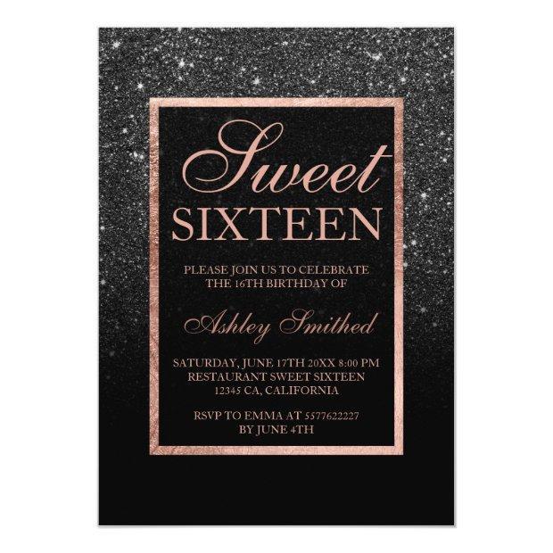 Faux Black Glitter Elegant Rose Gold Chic Sweet 16 Invitations