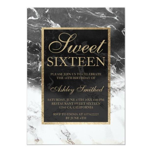 Faux Gold Black White Marble Color Block Sweet 16 Invitations