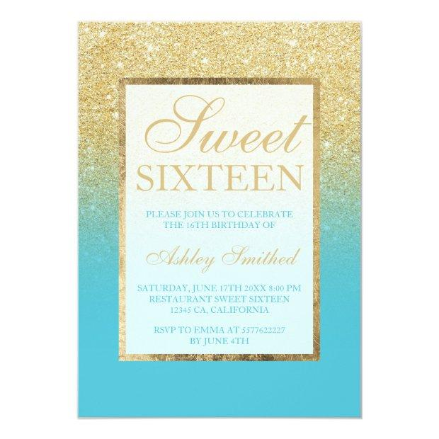 Faux Gold Glitter Ombre Peacock Blue Sweet 16 Invitations