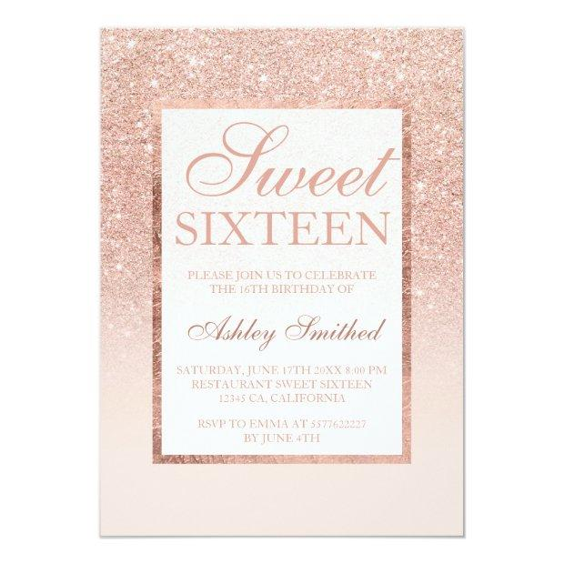 Faux Rose Gold Glitter Elegant Chic Sweet 16 Invitations