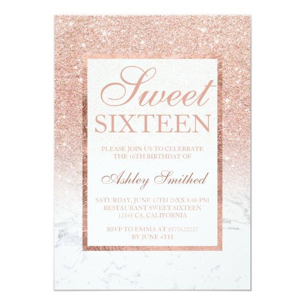 Faux Rose Gold Glitter Ombre Marble Chic Sweet 16