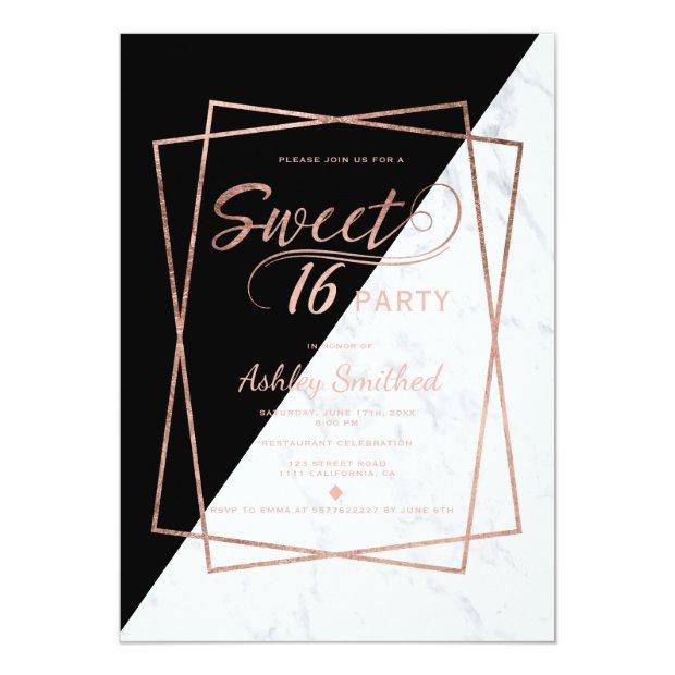 Faux Rose Gold Marble Script Geometric Sweet 16