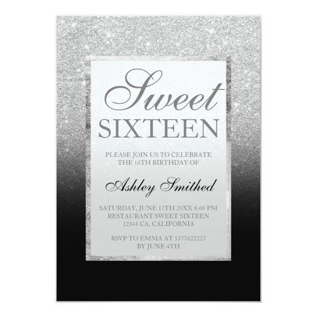Faux Silver Glitter Black Elegant Chic Sweet 16 Invitations