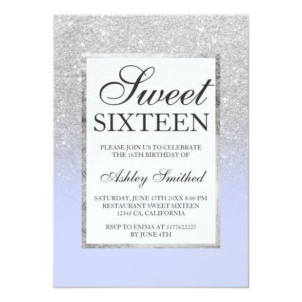 Faux Silver Glitter Lavender Chic Sweet 16 Invitations