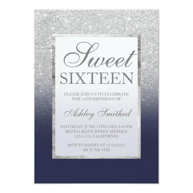 Faux Silver Glitter Navy Blue Legant Chic Sweet 16 Invitation
