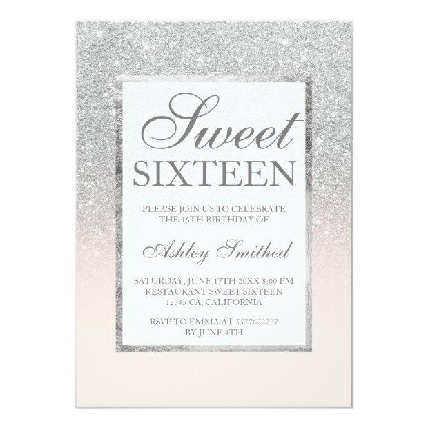 Faux Silver Glitter Pink Elegant Chic Sweet 16
