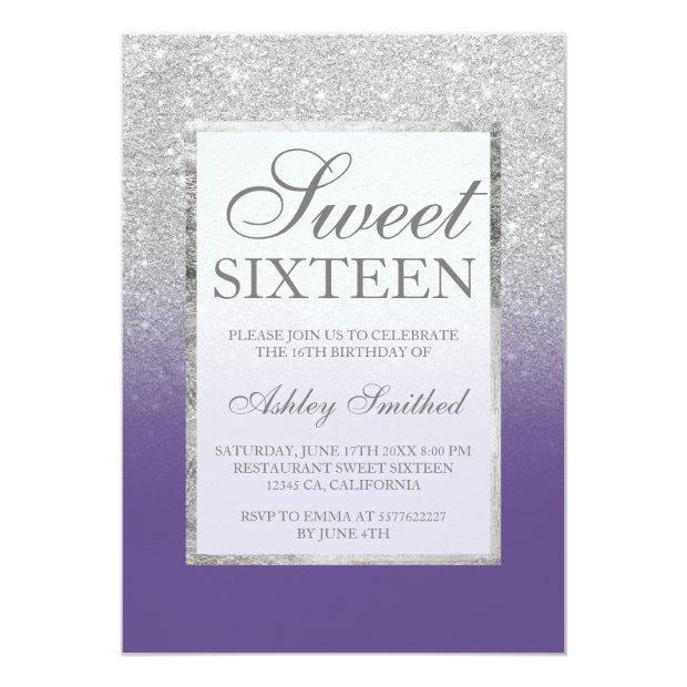 Faux Silver Glitter Violet Elegant Chic Sweet 16 Invitations