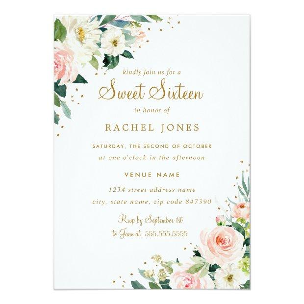 Floral Blush Pink Gold Sweet Sixteen Invitation