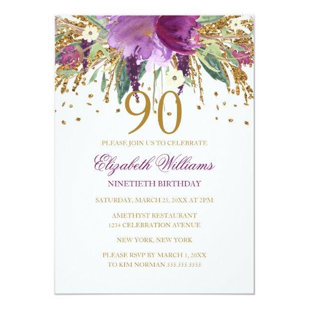 Floral Glitter Sparkling Amethyst 90th Birthday Invitations