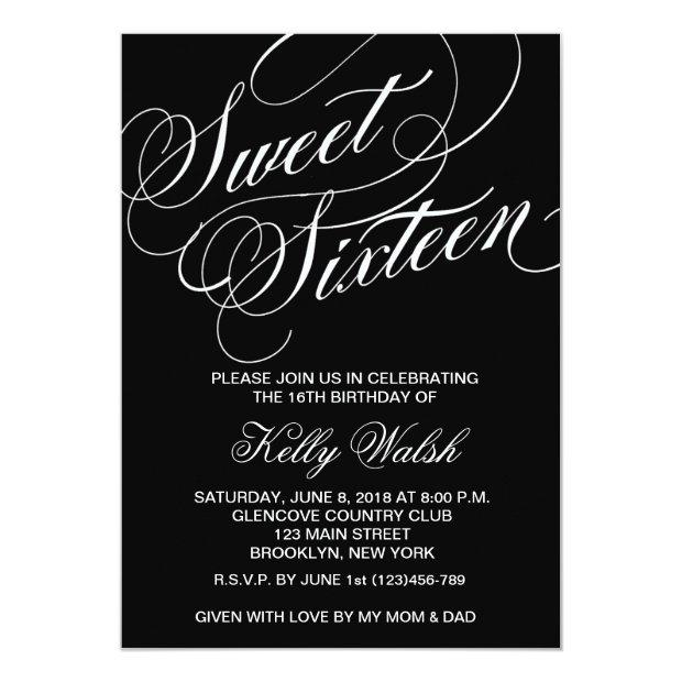 Flourish Black & White Sweet Sixteen Invitation