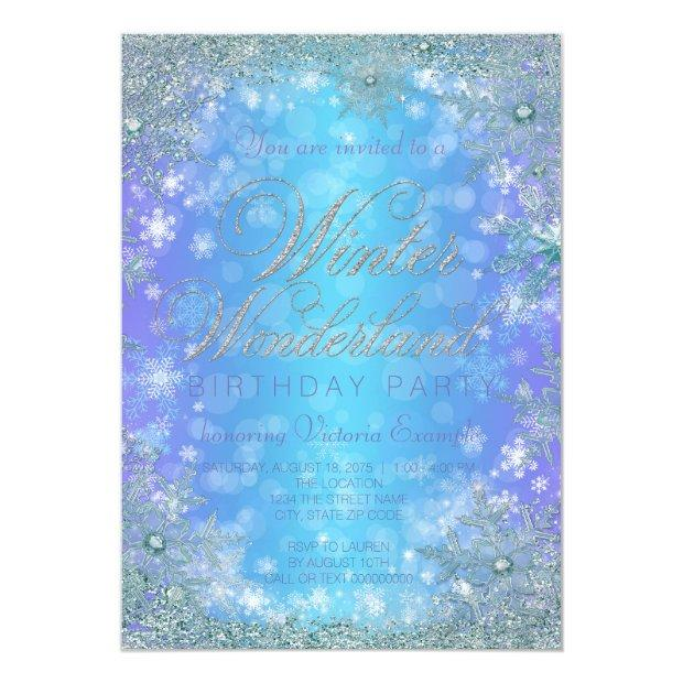 Frozen Winter Wonderland Birthday Party Invitations