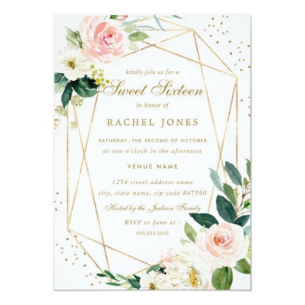 Geometric Blush Gold Floral Sweet Sixteen Invite