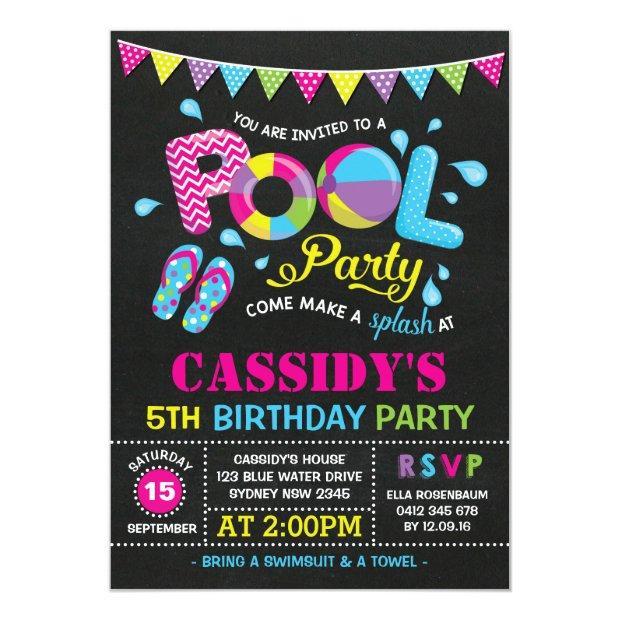 Girls Pool Party Birthday Chalkboard Invitation