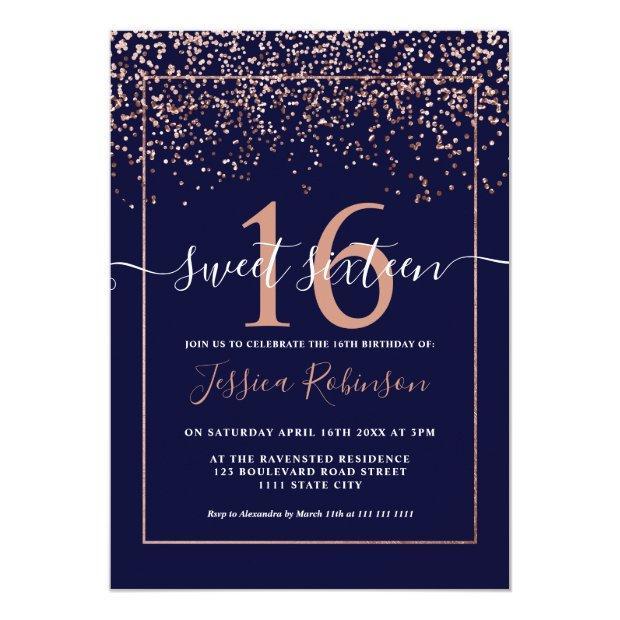 Girly Rose Gold Confetti Navy Blue Chic Sweet 16 Invitation