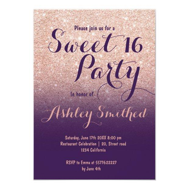 Girly Rose Gold Glitter Purple Ombre Sweet 16 Invitations