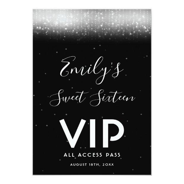 Glam Black White Sweet 16 Invitation Vip Pass Badge
