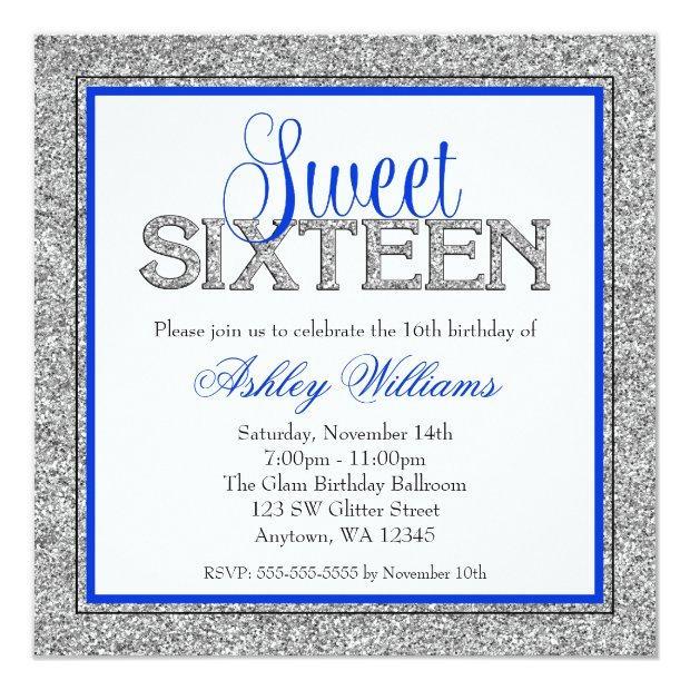 Glam Faux Glitter Silver Blue Sweet 16 Invitations
