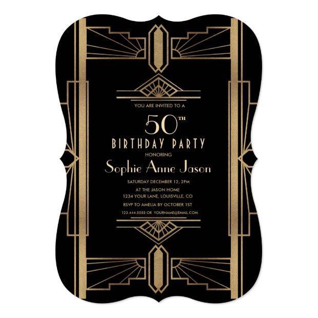 Glam Roaring 20's Great Gatsby 50th Birthday Party Invitation