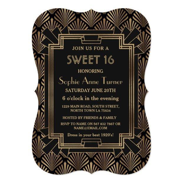 Glam Roaring 20's Great Gatsby Art Deco Sweet 16 Invitations